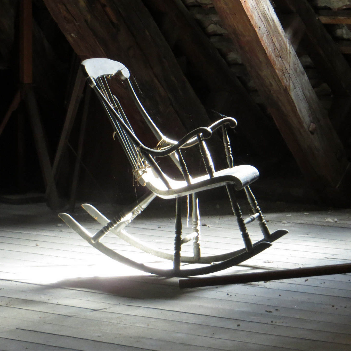 Rocking chair in an attic